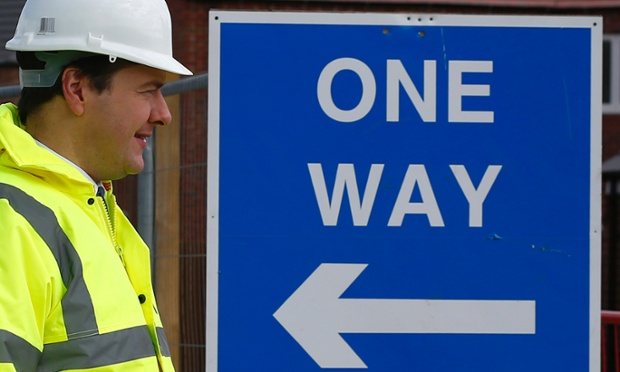 He says he's not for turning! George Osborne tours a housing development in Marehay, central England.