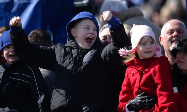 And here are some young Aintree racegoers reacting to the racing.