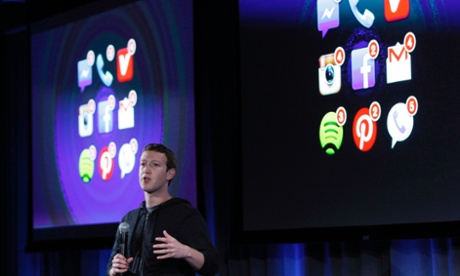 Mark Zuckerberg, Facebook's co-founder and chief executive speaks the launch of Facebook Home.