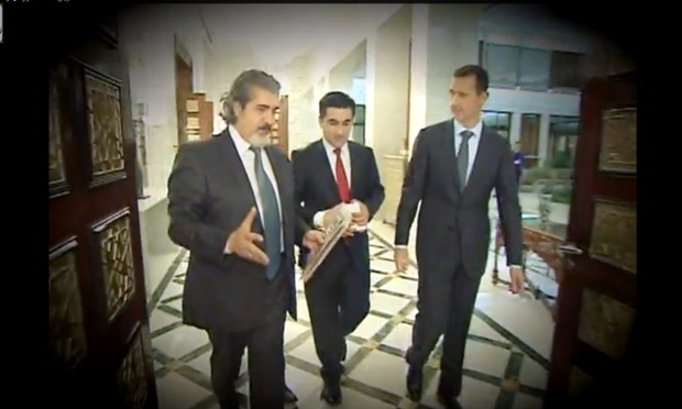 An image grab taken from a video made available by the Syrian presidency media office on 3 April 2013, shows Syrian president Bashar al-Assad after his interview with Turkish journalists in Damascus on 2 April 2013. The interview is due to air today.