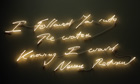 A Tracey Emin neon: I Followed You Into The Water Knowing I Would Never Return