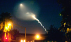 Unarmed Minuteman 3 intercontinental ballistic missile leaves a contrail the sky