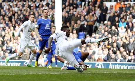 Tottenham's Emmanuel Adebayor scores against Everton in the first minute.
