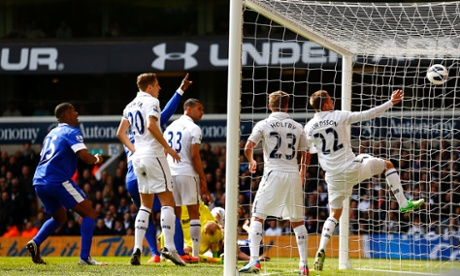Phil Jagielka's header bounces into the net to equalise for Everton against Tottenham.