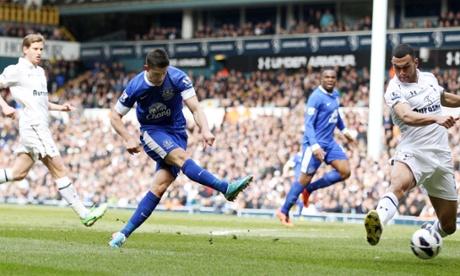 Everton's Kevin Mirallas scores their second goal against Tottenham Hotspur.