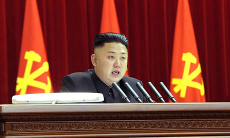 North Korean leader Kim Jong-Un attending a party plenary meeting in Pyongyang
