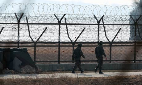 South Korean soldiers patrol the border with North Korea