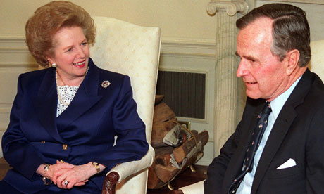 Margaret Thatcher and George Bush