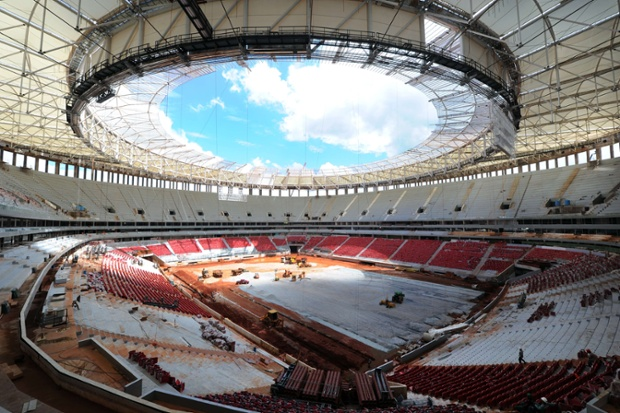 Wide angle photo of works being carried out on Brasilia's National Stadium in Brasilia. The National Stadium will be inaugurated on April 21 when the city celebrates its 53rd anniversary. Photograph: Evaristo Sa/AFP/Getty Images