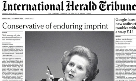 IHT front page on Margaret Thatcher