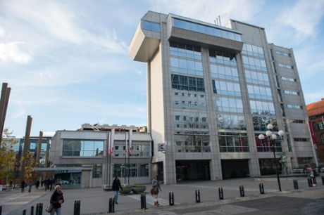 The headquarters of Slovenia's second-biggest bank, state-owned NKBM, in Ljubljana.