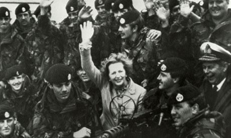 Margaret Thatcher visits Falkland Islands