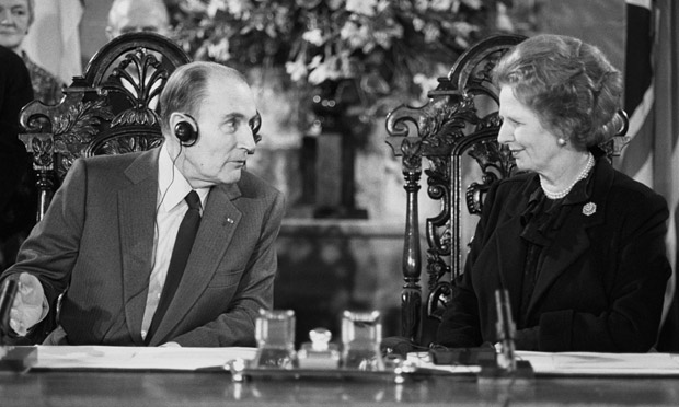 Margaret Thatcher and Francois Mitterand in 1986.