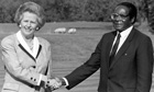 Margaret Thatcher with Robert Mugabe