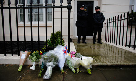 Flowers left outside the former home of Margaret Thatcher in Belgravia