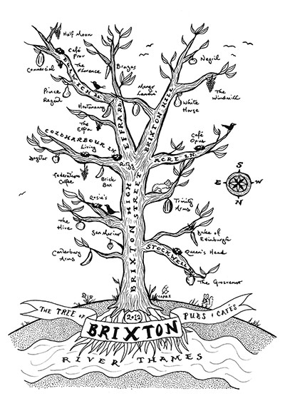 handdrawnmaps: Brixton handdrawn map