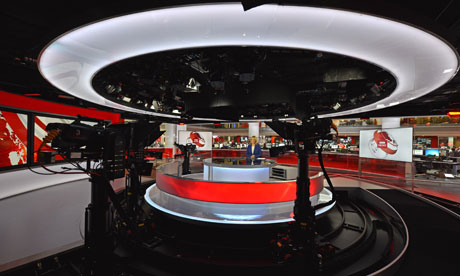 Sophie Raworth presenting the BBC News at New Broadcasting House