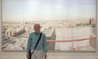How long did that one take? López in front of his painting 'Madrid from Vallecas firefighter tower'.