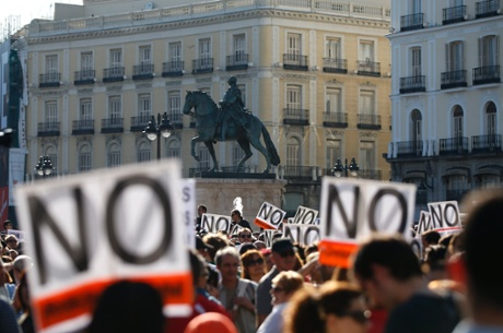 Demonstrators gather in the Puerta del Sol on the second anniversary of the 15M movement in central Madrid May 12, 2013.