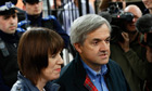 Chris Huhne arrives home from prison with partner Carina Trimingham