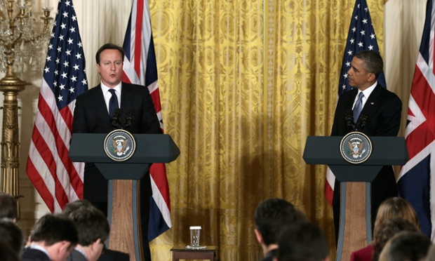 US president Barack Obama and British prime minister David Cameron hold a joint news conference in the East Room of the White House.