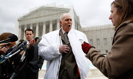 Indiana soybean farmer Vernon Bowman speaks to the media outside the Supreme Court in February