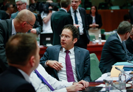 Eurogroup President and Dutch Finance Minister Jeroen Dijsselbloem (C) at the start of a finance ministers meeting at the EU headquarters in Brussels, Belgium, 14 May 2013.