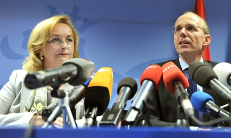 Austrian Federal Finance Minister Maria Fekter (L) takes part in a joint press conference alongside Luxembourg Finance Minister Luc Frieden,  following an Economic and Fiancial Affairs meeting on May 14, 2013, at the EU Headquarters in Brussels.