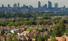 South London suburbs and London skyline