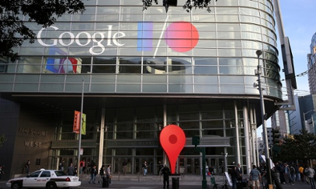 Attendees line up to enter the Google I/O developers conference at the Moscone Center in San Francisco, California.