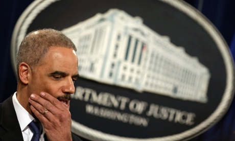 US attorney general Eric Holder faces questions about his department's investigation targeting phone records and data from the Associated Press and accusations of criminality against Fox News' James Rosen. Photograph: Chip Somodevilla/Getty Images