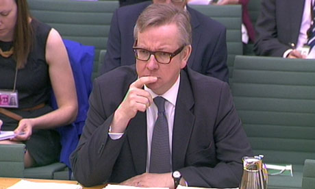 Education secretary Michael Gove at Commons education committee