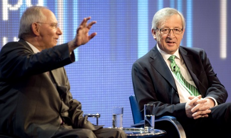 German finance minister Wolfgang Schaeuble (on the left) and prime minister of Luxemburg Jean-Claude Juncker (R)  take part in a panel discussion during the Europe forum in Berlin.