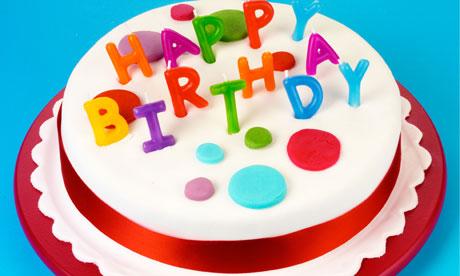 birthday cake blue background