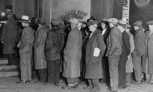 US depression-era soup kitchen