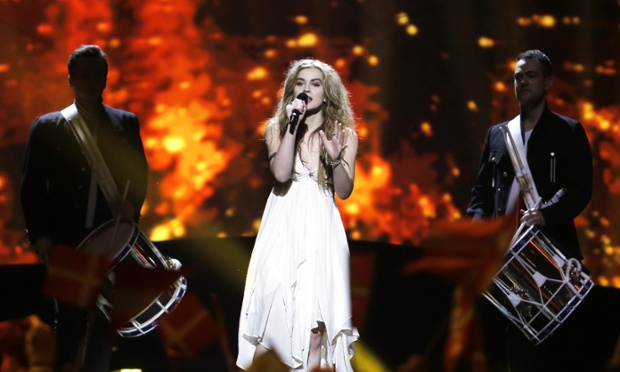 Emmelie de Forest from Denmark and her boyband backing group. Can anybody stop her winning?