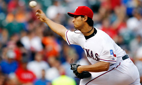 Yu Darvish pitches against the Detroit Tigers