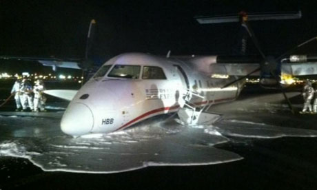 US Airways jet forced to make 'belly' landing at Newark airport