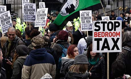 Campaigners protest against the bedroom tax