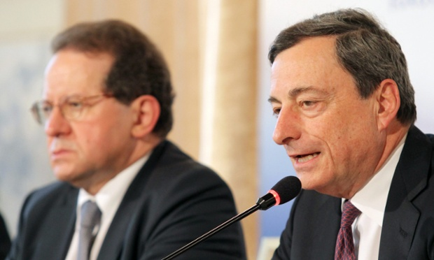 President of the European Central Bank Mario Draghi (R) speaks while Vice President of the ECB Vitor Connstancio (L) looks on during a press conference after the Meeting of the Governing Council of the European Central Bank, in Bratislava, Slovakia, 02 May 2013.