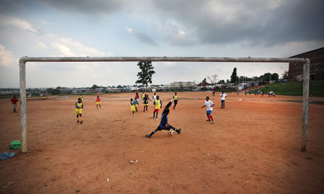 Football practice in South Africa