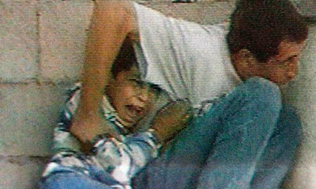 France 2 footage showing Muhammad al-Dura crying beside his father in Gaza in September 2000