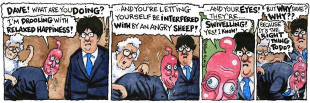 Steve Bell's If … David Cameron's swivelling eyes