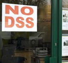 No DSS sign in estate agent window