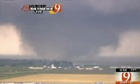 This frame grab provided by KWTV shows a tornato in Oklahoma City Monday, April 20, 2013. Television footage shows flattened buildings and fires after a mile-wide tornado moved through the Oklahoma City area. (AP Photo/Courtesy KWTV)