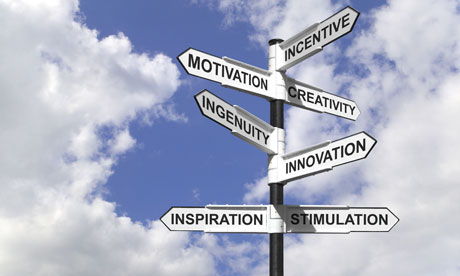 Concept image of a signpost with motivational directions