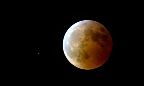 Moon in almost total lunar eclipse