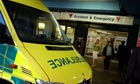 Ambulance stops outside accident and emergency department