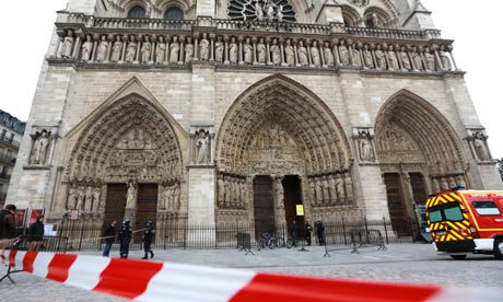 French police officers cordon off Notre Dame Cathedral
