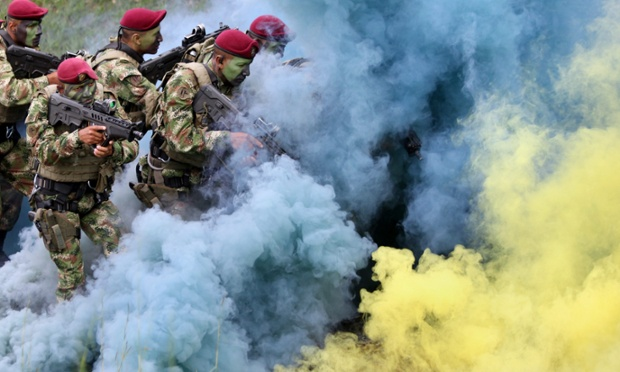 Colour sargents? Members of the Special Forces of the Colombian Army participate in a security drill for the seventh Summit of the Pacific Alliance, to be held on 23 May, in Cali, Colombia.